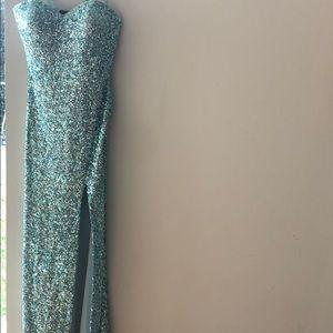 La Femme light blue sequin gown